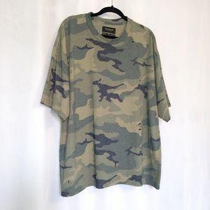 PacSun Shirts - PacSun Boxy Fit Camo Crew Neck Ripped Shirt XL